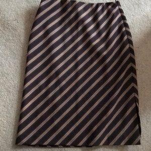 Anne Klein brown tan stripes skirt 2